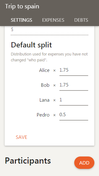 Set the default distribution of the shared expenses, on mobile