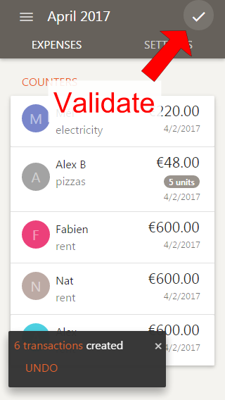 Validation of the expenses sheet